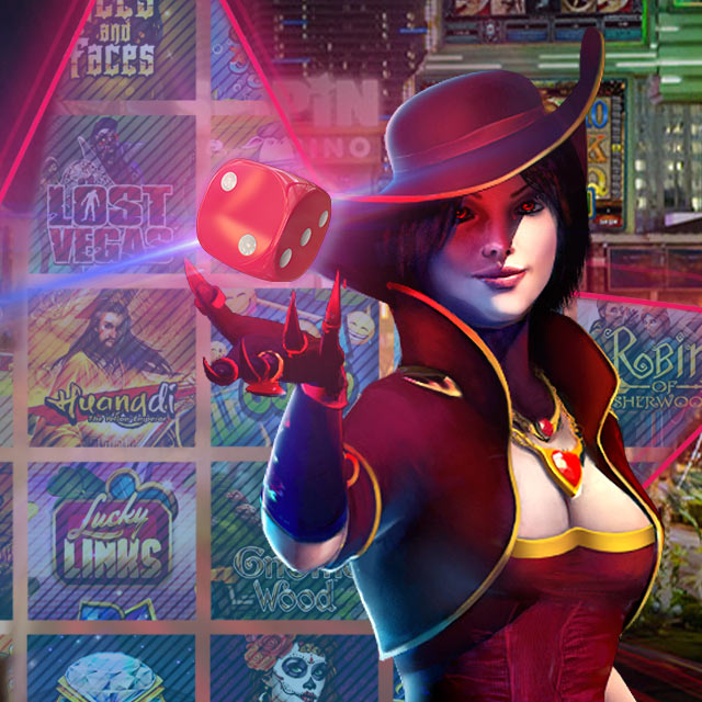 Female wizard in burgandy controlling red dice with right hand