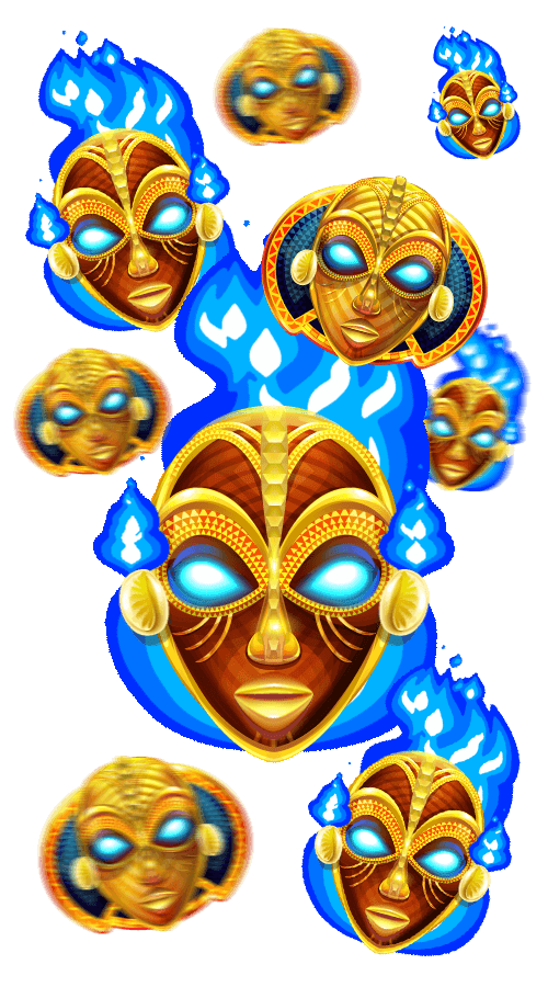 9 tiki masks with blue flames